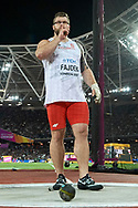 Great Britain, London - 2017 August 11: Pawel Fajdek (Agros Zamosc) of Poland celebrates his gold medal in men's hammer throw final during IAAF World Championships London 2017 Day 8 at London Stadium on August 11, 2017 in London, Great Britain.<br /> <br /> Mandatory credit:<br /> Photo by © Adam Nurkiewicz<br /> <br /> Adam Nurkiewicz declares that he has no rights to the image of people at the photographs of his authorship.<br /> <br /> Picture also available in RAW (NEF) or TIFF format on special request.<br /> <br /> Any editorial, commercial or promotional use requires written permission from the author of image.