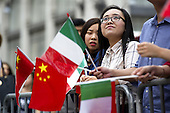 Chinese citizens attends to the visit of the prime minister in Italy