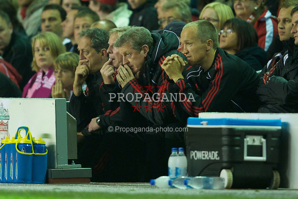 LIVERPOOL, ENGLAND - Wednesday, September 22, 2010: Liverpool's manager Roy Hodgson sees his side take on Northampton Town during the Football League Cup 3rd Round match at Anfield. (Photo by David Rawcliffe/Propaganda)