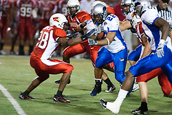 16 September 2006: James Temple reaches for a rushing Norris Smith. The Eastern Illinois Panthers and The Illinois State Redbirds have a long standing rivalry. This years competition commenced at Hancock Stadium on the campus of Illinois State University in Normal Illinois.