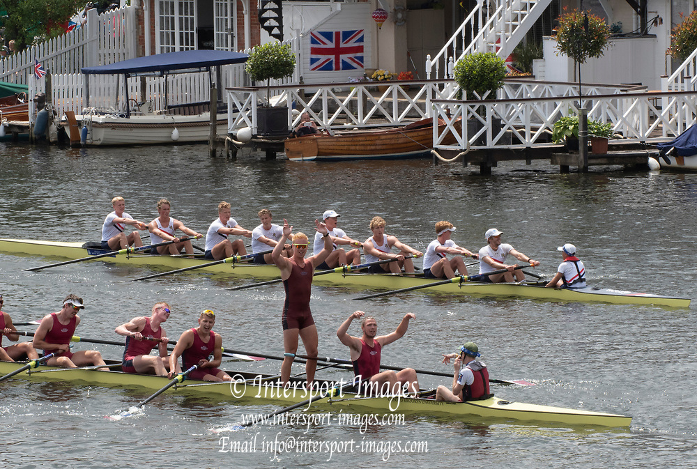 Henley on Thames, England, United Kingdom, Sunday, 07.07.19, Oxford Brookes University A (foreground), celebrate, after crossing the line, ahead of  <br /> Hollandia Roeiclub, Netherlands, NED,  (background),  in the Final, of The Ladies' Challenge Plate,, Henley Royal Regatta,  Henley Reach, ©, Karon PHILLIPS/Intersport Images]<br /> <br /> 13:18:13 1919 - 2019, Royal Henley Peace Regatta Centenary,