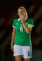 NEWPORT, WALES - Tuesday, September 3, 2019: Northern Ireland's Northern Ireland's captain Ashley Hutton celebrates after an injury time equalising goal during the UEFA Women Euro 2021 Qualifying Group C match between Wales and Northern Ireland at Rodney Parade. The game ended in a 2-2 draw. (Pic by David Rawcliffe/Propaganda)