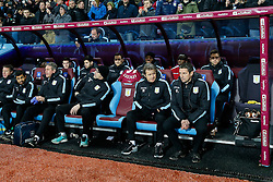 Aston Villa Manager Remi Garde (R) looks on from his seat in the dugout  - Mandatory byline: Rogan Thomson/JMP - 19/01/2016 - FOOTBALL - Villa Park Stadium - Birmingham, England - Aston Villa v Wycombe Wanderers - FA Cup Third Round Replay.