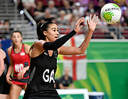 11th April 2018, Gold Coast Convention and Exhibition Centre, Gold Coast, Australia; Commonwealth Games day 7; Netball, England versus New Zealand; Maria Folau of New Zealand passes the ball