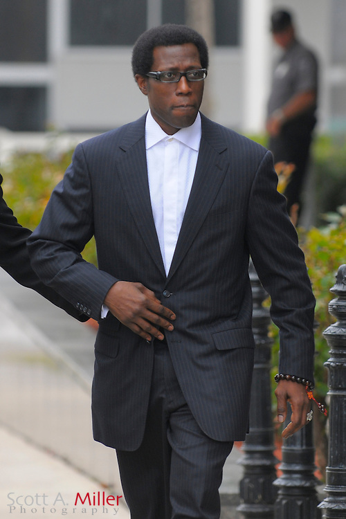 """Jan 31, 2008; Ocala, Fla.: Actor Wesely Snipes leaves the Federal Court building in Ocala, Florida..Snipes, the star of the """"Blade"""" films and """"White Men Can't Jump,"""" is on trial with two tax protesters in one of the biggest criminal cases in IRS history. Snipes could get up to 16 years in prison if convicted on all counts, although sentences that long are unusual...©2008 Scott A. Miller.© 2008 Scott A. Miller"""