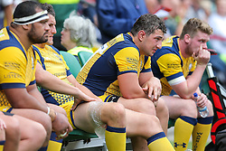 Val Rapava Ruskin of Worcester Warriors looks frustrated from the dugout - Rogan Thomson/JMP - 03/09/2016 - RUGBY UNION - Twickenham Stadium - London, England - Saracens v Worcester Warriors - Aviva Premiership London Double Header.