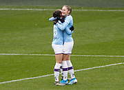 Manchester City Women's forward Tessa Wullaert (left) celebrates her goal during the FA Women's Super League match between Manchester City Women and West Ham United Women at the Sport City Academy Stadium, Manchester, United Kingdom on 17 November 2019.