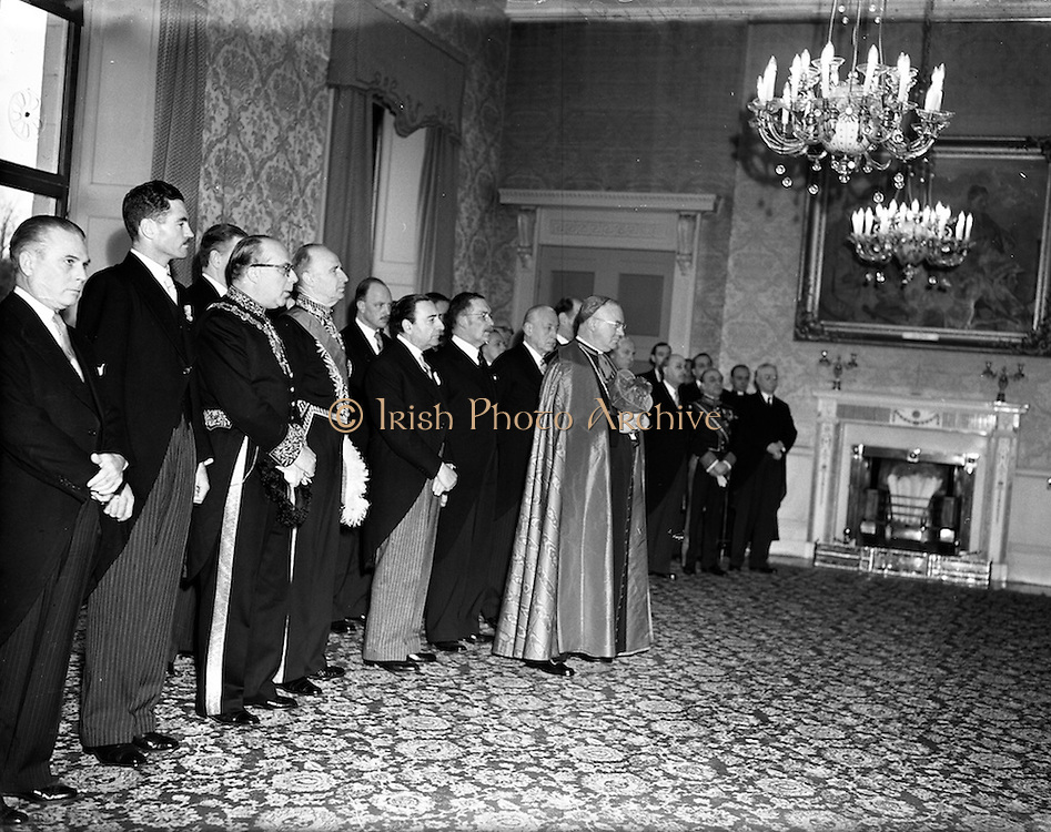 01/01/1953<br /> 01/01/1953<br /> 01 January 1953<br /> The Diplomatic Corps in Ireland call on President Sean T. O'Kelly at Aras an Uachtarain for the New Years Greeting ceremony. The assembled Corps led by the Papal Nuncio, Most Rev. Dr. Gerald O'Hara.