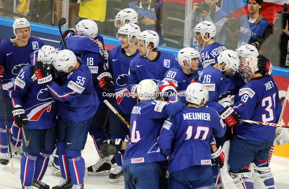 Joie France - 12.05.2015 - Lettonie / France - Championnats du Monde Hockey sur Glace -Prague<br /> Photo : Xavier Laine / Icon Sport