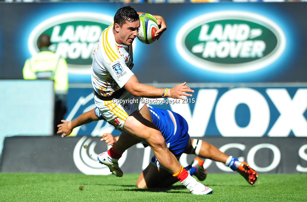 James Lowe of the Chiefs goes past Damian de Allende of the Stormers to score a try during the 2015 Super Rugby game between the Stormers and the Chiefs at Newlands Stadium, Cape Town on 14 March 2015 ©Ryan Wilkisky/BackpagePix