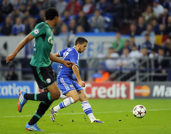 Chelsea's Eden Hazard runs through to score Chelsea's third of the game - Photo mandatory by-line: Joe Meredith/JMP - Tel: Mobile: 07966 386802 22/10/2013 - SPORT - FOOTBALL - Veltins-Arena - Gelsenkirchen - FC Schalke 04 v Chelsea - CHAMPIONS LEAGUE - GROUP E