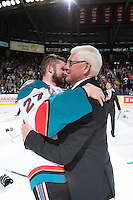 KELOWNA, CANADA - MAY 13: Josh Morrissey #27 of Kelowna Rockets hugs General Manger Bruce Hamilton after winning the WHL Championship on May 13, 2015 during game 4 of the WHL final series at Prospera Place in Kelowna, British Columbia, Canada.  (Photo by Marissa Baecker/Shoot the Breeze)  *** Local Caption *** Josh Morrissey; Bruce Hamilton;