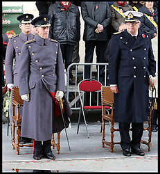 The Duke of Edinburgh with the HRH Prince Laurent of Belguim at the Menin Gate in Ypres, Belgium, at a ceremony on Armistice Day to mark the gathering of soil for the Flanders Fields Memorial Garden at the Guards Museum in London, Monday, 11th November 2013. Picture by Stephen Lock / i-Images