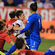 Abby Wambach, USA, scores her fourth goal of the game becoming the greatest goal scorer in international soccer. Wambach scored four goals during the U.S. Women's 5-0 victory over Korea Republic, friendly soccer match. The four goals brings her tally to 160 goals which eclipsed Mia Hamm's all-time goal record of 158 goals.  Red Bull Arena, Harrison, New Jersey. USA. 20th June 2013. Photo Tim Clayton