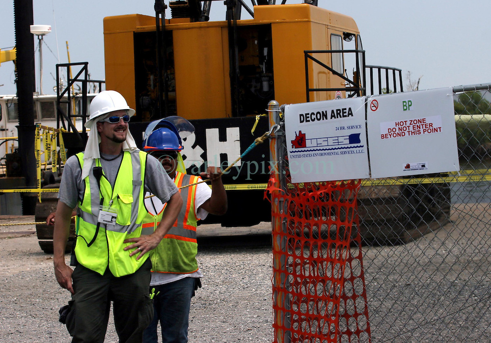 01 June 2010. New Orleans, Louisiana, USA.  <br /> British Petroleum's staging area at the  Breton Sound Marina in Hopedale where tons of oil boom awaits deployment in the marshes and swamps of St Bernard Parish in southern Louisiana.<br /> Photo; Charlie Varley/varleypix.com