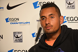 June 19, 2017 - London, United Kingdom - Nick Kyrgios (AUS) is pictured in the press conference after his retirement, for a physical problem at the AEGON Championships, London on June 19, 2017. (Credit Image: © Alberto Pezzali/NurPhoto via ZUMA Press)