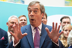 © Licensed to London News Pictures. 27/05/2019. London, UK. British Brexit party leader Nigel Farage speaks during a press conference with new MEP's in London, Britain, on May. 26, 2019. Photo credit: Ray Tang/LNP