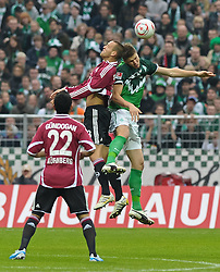 30.10.2010, Weserstadion, Bremen, GER, 1. FBL, Werder Bremen vs 1. FC Nürnberg / Nuernberg, im Bild Ilkay Gündogan / Guendogan (Nuernberg #22) , Julian Schieber (Nuernberg #23), Sebastian Prödl / Proedl (Bremen #15)  EXPA Pictures © 2010, PhotoCredit: EXPA/ nph/  Frisch+++++ ATTENTION - OUT OF GER +++++