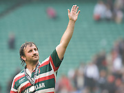 George Chuter gestures to the crowd after winning the Guinness Premiership final. The Guinness Premiership final 2010 between Leicester Tigers and Saracens at Twickenham Stadium, London, England. May 29th, 2010. .