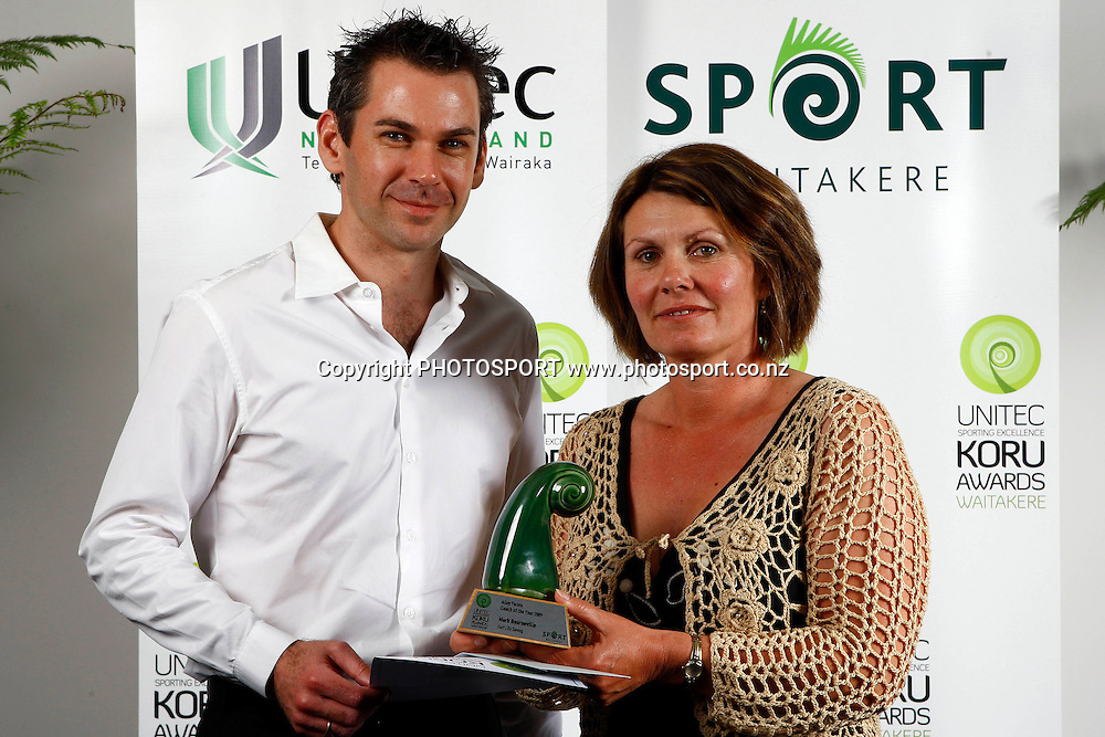 Coach of the year award accepted by Nathalie Bournville for husband Mark, Unitec, Waitakere Sporting Excellence, Koru Awards. Genesis Lounge, Trusts Stadium, Waitakere City, Auckland, 27 November 2009. Photo: William Booth/PHOTOSPORT