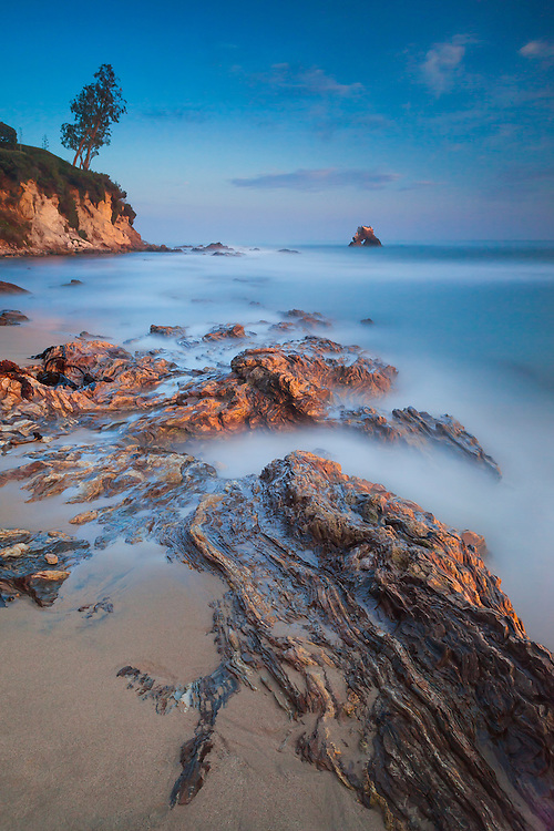 Shoreline And Arch Rock (Six Minute Exposure) - Corona Del Mar - Sunset
