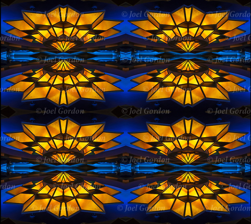 Close up of exterior Art Deco star mirrored eight times.<br /> <br /> Two or more layers or generations were used to enhance, alter, manipulate the image, creating an abstract surrealistic mirrored symmetry.
