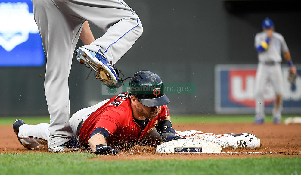 September 1, 2017 - Minneapolis, MN, USA - The Minnesota Twins' Brian Dozier advances to third base on a fly out by Joe Mauer in the first inning against the Kansas City Royals on Friday, Sept. 1, 2017, at Target Field in Minneapolis. (Credit Image: © Aaron Lavinsky/TNS via ZUMA Wire)