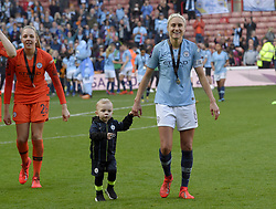 February 23, 2019 - Sheffield, England, United Kingdom - Steph Hughton(Manchester City Captain) leaves the field after winning the league cup trophy during the  FA Women's Continental League Cup Final  between Arsenal and Manchester City Women at the Bramall Lane Football Ground, Sheffield United FC Sheffield, Saturday 23rd February. (Credit Image: © Action Foto Sport/NurPhoto via ZUMA Press)