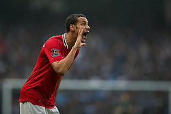 MANCHESTER, ENGLAND - Sunday, January 8, 2012: Manchester United's Rio Ferdinand during the FA Cup 3rd Round match against Manchester City at the City of Manchester Stadium. (Pic by David Rawcliffe/Propaganda)