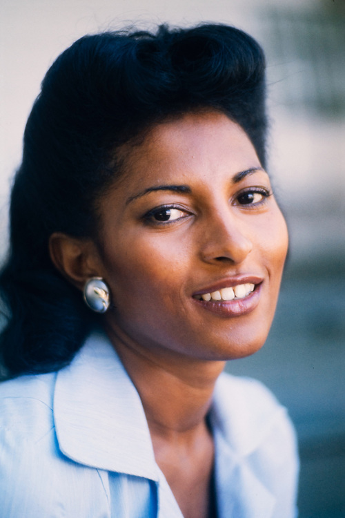 "Actress Pam Grier on the set of ""Greased Lightning"" - the story of the first African American NASCAR driver - Wendell Scott."