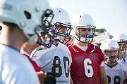 09/19/2014 - Medford, Mass. - Tufts QB Alex Snyder, A17, and Tufts TE Xavier Frey, A16, listen to Offensive Coordinator Frank Hauser after practice in preparation of their season opener against Hamilton on Sept. 19, 2014. (Kelvin Ma/Tufts University)