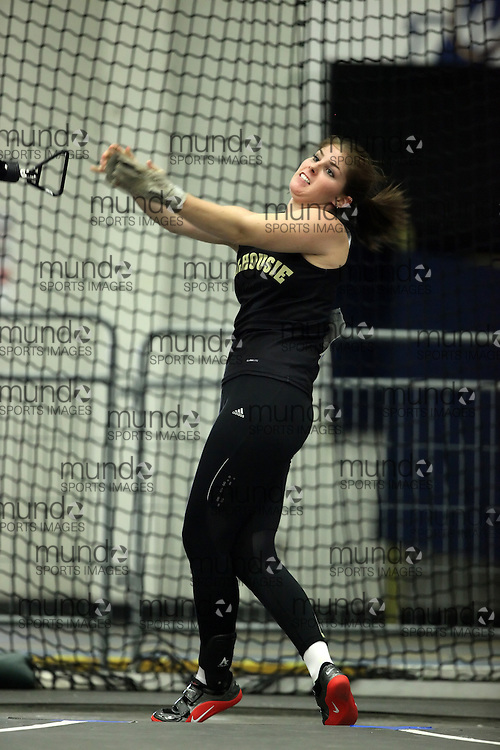 (Windsor, Ontario---11 March 2010) \Dalhousie\ competes in the weight throw at the 2010 Canadian Interuniversity Sport Track and Field Championships at the St. Denis Center. Photograph copyright Geoff Robins/Mundo Sport Images. www.mundosportimages.com