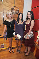 Left to right, PIXIE GELDOF, LEIGH LEZARK and KATIE GRAND at a party in aid of the charity Best Buddies held at the Hogan store, 10 Sloane Street, London SW10 on 13th May 2009.