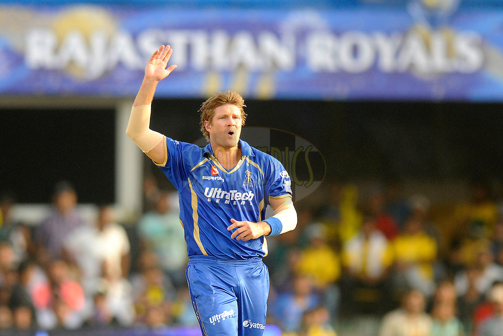Shane Watson captain of the Rajatshan Royals during match 25 of the Pepsi Indian Premier League Season 2014 between the Rajasthan Royals and the Kolkata Knight Riders held at the Sardar Patel Stadium, Ahmedabad, India on the 5th May  2014<br /> <br /> Photo by Pal Pillai / IPL / SPORTZPICS      <br /> <br /> <br /> <br /> Image use subject to terms and conditions which can be found here:  http://sportzpics.photoshelter.com/gallery/Pepsi-IPL-Image-terms-and-conditions/G00004VW1IVJ.gB0/C0000TScjhBM6ikg