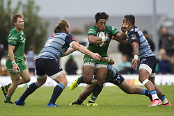 September 23, 2017 - Galway, Ireland - Bundee Aki of Connacht tackled by Willis Halaholo and Kristian Dacey of Cardiff during the Guinness PRO14 Conference A match between Connacht Rugby and Cardiff Blues at the Sportsground in Galway, Ireland on September 23, 2017  (Credit Image: © Andrew Surma/NurPhoto via ZUMA Press)