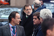 Mariano Rajoy Brey, Prime minister of Spain,waits for a car leaving the  EU Budget summit at the European Council building for a break in Brussels, Friday, Feb. 8, 2013. A European Union summit to decide EU spending for the next seven years entered a second day after all-night negotiations left a standoff over spending unresolved. The leaders of the 27 nations inched toward a compromise Friday that would leave their common budget with a real-term cut for the first time in the EU's history.
