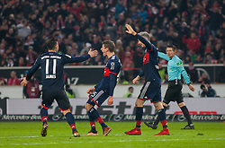 December 16, 2017 - Stuttgart, Germany - Bayerns Thomas Mueller celebrates with his team mates James Rodriguez and Robert Lewandowski the 1:0 during the German first division Bundesliga football match between VfB Stuttgart and Bayern Munich on December 16, 2017 in Stuttgart, Germany. (Credit Image: © Bartek Langer/NurPhoto via ZUMA Press)