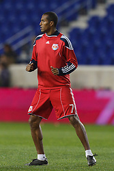 Oct 20, 2011; Harrison, NJ, USA;  New York Red Bulls defender Roy Miller (7) warms up before the game against the Philadelphia Union at Red Bull Arena. New York defeated Philadelphia 1-0. Mandatory Credit: Jason O. Watson-US PRESSWIRE