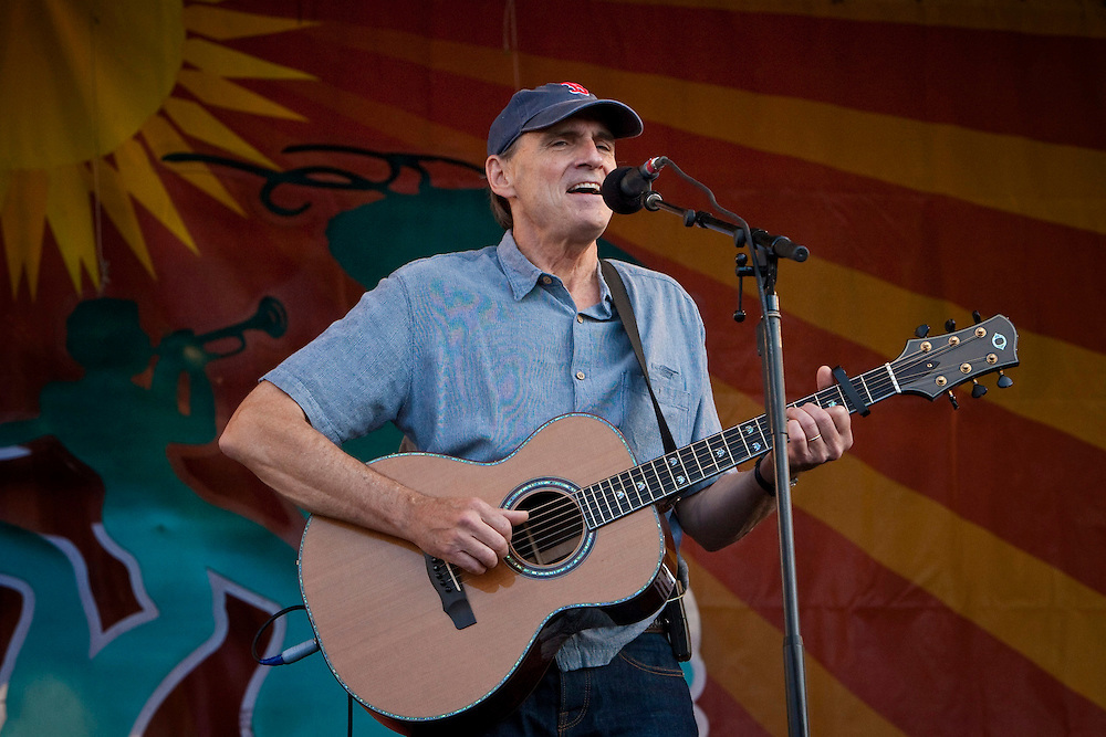 American singer-songwriter and guitarist James Taylor performing on the main Acura Stage at the New Orleans Jazz and Heritage Festival at the New Orleans Fair Grounds Race Course in New Orleans, Louisiana, USA, 25 April 2009.