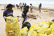 Youth from Wozobona in Limpopo participate in a beach clean up organized by the Southern Durban Community Environmental Alliance (SCDEA)/KZN, 1 December 2011
