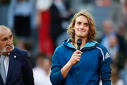 May 12, 2019 - Madrid, MADRID, SPAIN - Stefanos Tsitsipas (GRE) and Ion Tiriac (ROU) during the Mutua Madrid Open 2019, Final round, (ATP Masters 1000 and WTA Premier) tenis tournament at Caja Magica in Madrid, Spain, on May 12, 2019. (Credit Image: © AFP7 via ZUMA Wire)