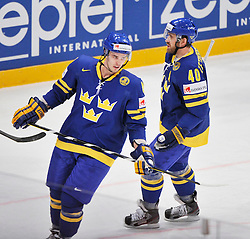 09.05.2012, Ericsson Globe, Stockholm, SWE, IIHF, Eishockey WM, Deuschland (GER) vs Schweden (SWE), im Bild 44 Niklas Hjalmarsson Sverige Sweden 40 Henrik Zetterberg // during the IIHF Icehockey World Championship Game between Germany (GER) and Sweden (SWE)at the Ericsson Globe, Stockholm, Sweden on 2012/05/09. EXPA Pictures © 2012, PhotoCredit: EXPA/ PicAgency Skycam/ Simone Syversson..***** ATTENTION - OUT OF SWE *****