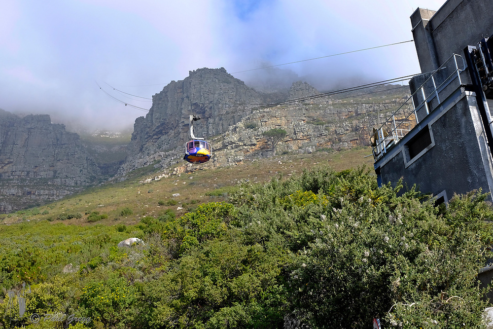Table Mountain,Cape Town, South Africa. From the cable car as it exits the top station on it's decent.