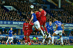 LIVERPOOL, ENGLAND - Sunday, March 3, 2019: Liverpool's Joel Matip and Virgil van Dijk both challenge for a header during the FA Premier League match between Everton FC and Liverpool FC, the 233rd Merseyside Derby, at Goodison Park. (Pic by Paul Greenwood/Propaganda)