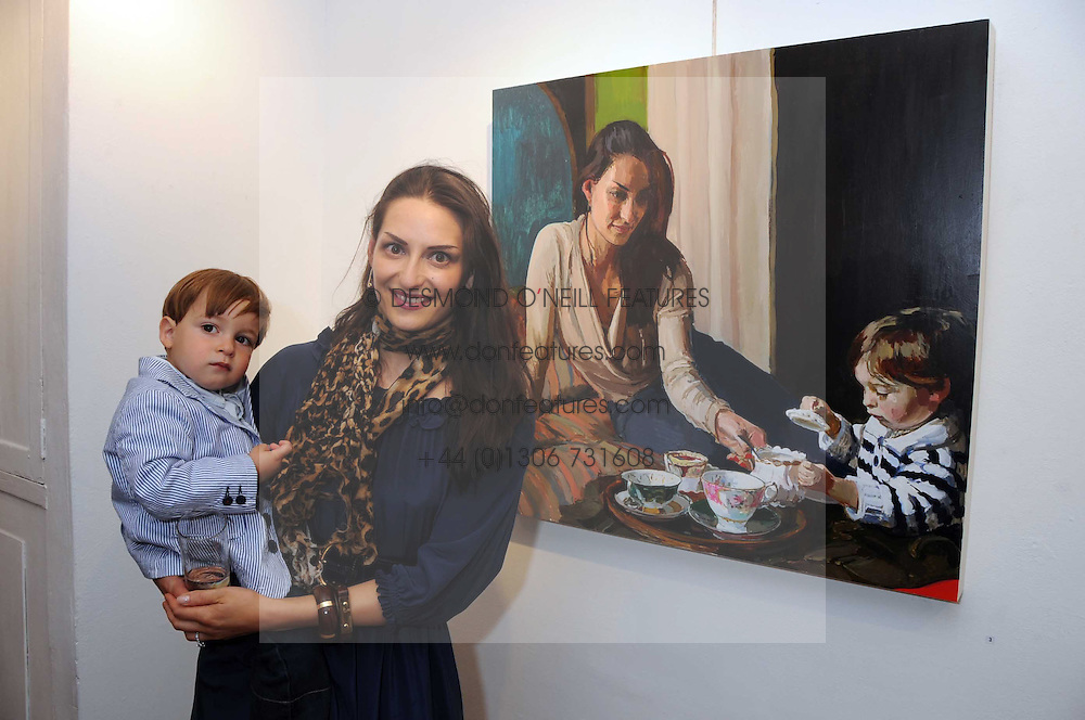 CARMEN HAID and her son RAPHAEL HARPEL at a private view of paintings by Laura Smith at 54 The Gallery, Shepherd Market, London W1 on 8th July 2008.<br /><br />NON EXCLUSIVE - WORLD RIGHTS