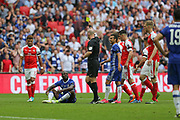 Chelsea's Victor Moses(15) is shown a second yellow card and is sent off during the The FA Cup final match between Arsenal and Chelsea at Wembley Stadium, London, England on 27 May 2017. Photo by Shane Healey.
