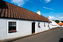 Old whitewashed house in historic village of Falkland in Fife, Scotland, UK