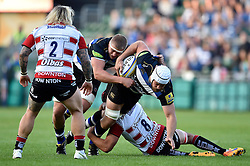Dave Attwood of Bath Rugby takes on the Gloucester defence - Mandatory byline: Patrick Khachfe/JMP - 07966 386802 - 26/09/2015 - RUGBY UNION - The Recreation Ground - Bath, England - Bath Rugby v Gloucester Rugby - West Country Challenge Cup.