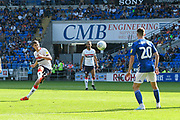 Paddy McNair (17) of Middlesbrough shoots at goal from a free kick and misses the target during the EFL Sky Bet Championship match between Cardiff City and Middlesbrough at the Cardiff City Stadium, Cardiff, Wales on 21 September 2019.