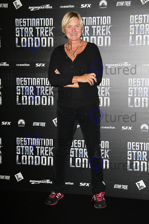 LONDON - OCTOBER 19: Denise Crosby; Security Chief Tasha Yar attended 'Destination Star Trek London' at the ExCel Centre London, UK, October 19, 2012. (Photo by Richard Goldschmidt)